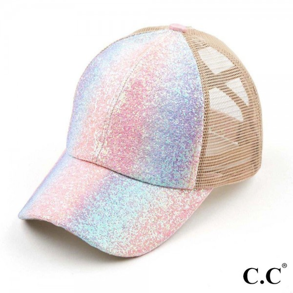 C.C BT-931 Glitter Criss-Cross PonyTail Cap with Mesh Back.  - Elastic Criss-Cross Back Feature - Can Be Worn Multiple Ways - Adjustable Velcro Closure - One size fits most - 60% Cotton / 40% Polyester