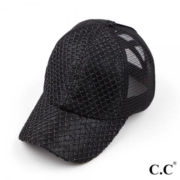 C.C. BT-934 Glitter Net Criss Cross Ponytail Cap.   - One Size Fits Most