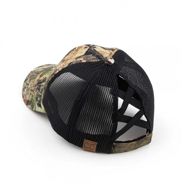 Mossy Oak Brand Camouflage Criss-Cross Ponytail Cap.   - 60% Cotton, 40% Polyester  - One Size Fits Most