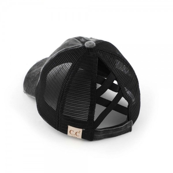 C.C KIDS-BT-780 KIDS Distressed Criss Cross Pony Cap with Mesh Back  - One size fits most - Elastic criss cross pony tail opening - Adjustable Velcro Closure - 60% Cotton / 40% Polyester