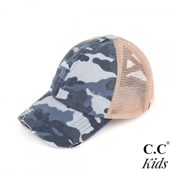 C.C KIDS-BT-783 Vintage Distressed Camouflage Criss-Cross High PonyTail Cap with Mesh Back.   - Elastic Criss Cross Back Feature  - Can Be Worn Multiple Ways  - Adjustable Velcro Closure  - One size fits most kids 5-11  - 60% Cotton / 40% Polyester