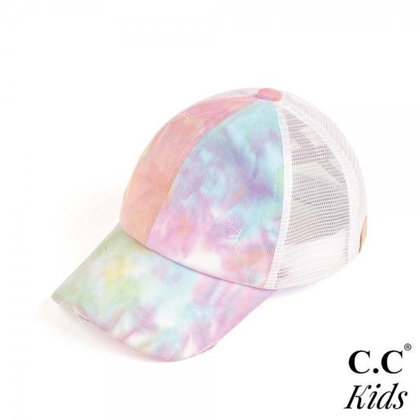 C.C. KIDS-BT-791  Kids Tie-Dye Criss Cross Pony Cap.   - One size fits most kids 5-11 - 100% Cotton