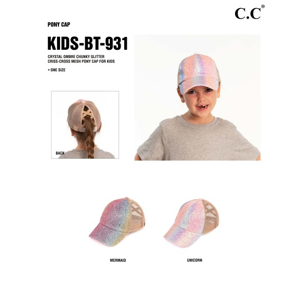 C.C KIDS-BT-931 KIDS Ombre Glitter Criss-Cross High PonyTail Cap with Mesh Back.  - Elastic Criss-Cross Back Feature - Can Be Worn Multiple Ways - Adjustable Velcro Closure - One size fits most - 100% Polyester