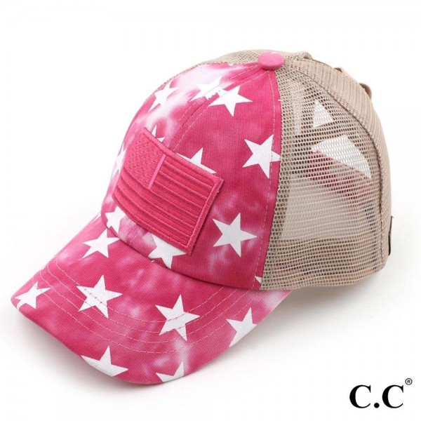 C.C BT-933 Criss Cross Pony Cap with Mesh Back Featuring Star Accents and American Flag Embroidery.   - One size fits most  - Elastic criss cross pony tail opening - Adjustable Velcro Closure - 60% Cotton / 40% Polyester