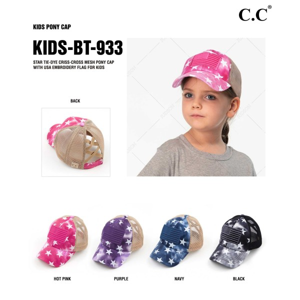C.C KIDS-BT-933 Kids Criss Cross Pony Cap with Mesh Back Featuring Star Accents and American Flag Embroidery.   - One size fits most kids ages 5-11 - Elastic criss cross pony tail opening - Adjustable Velcro Closure - 60% Cotton / 40% Polyester