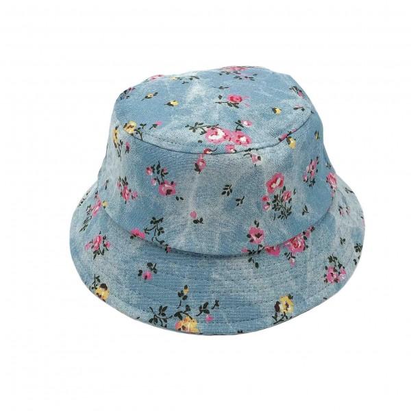 Denim Floral Bucket Hat.   - 100% Cotton - One Size Fits Most