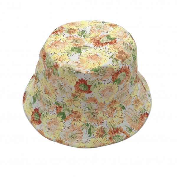 Floral Bucket Hat.   - 100% Cotton - One Size Fits Most