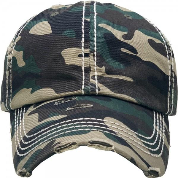 Basic Vintage Distressed Baseball Cap.  - One size fits most - Adjustable Velcro Closure - 100% Cotton