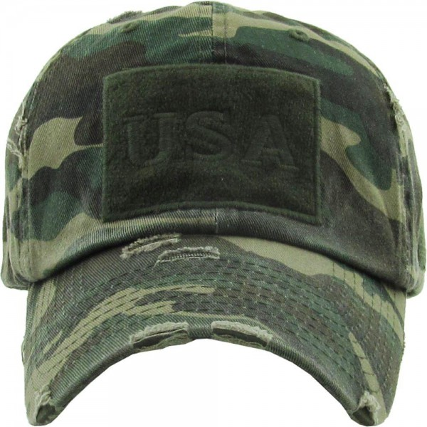 Vintage Distressed Camouflage USA Baseball Cap.  - One size fits most - Adjustable Back Closure - 100% Cotton