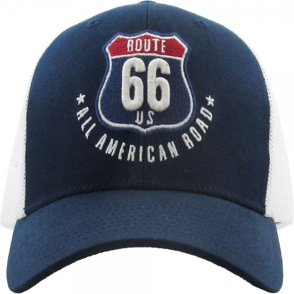 All American Route 66 Vintage Mesh Baseball Cap.  - One size fits most - Adjustable Snap Closure - 100% Cotton