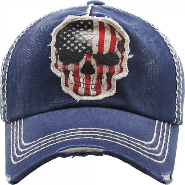 Vintage Distressed American Skull Baseball Cap.  - One size fits most - Adjustable Back Closure - 100% Cotton