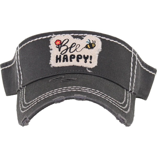 Wholesale bee Happy Embroidered Distressed Sun Visor One fits most Adjustable Ve