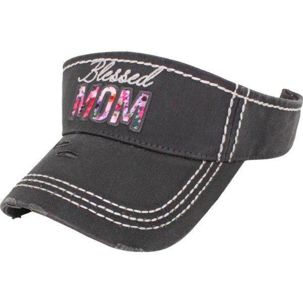 Blessed Mom Embroidered Distressed Sun Visor.  - One size fits most - Adjustable Velcro Closure - 100% Cotton