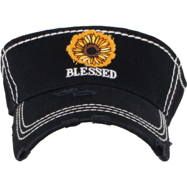 Wholesale sunflower Blessed Embroidered Distressed Sun Visor One fits most Adjus