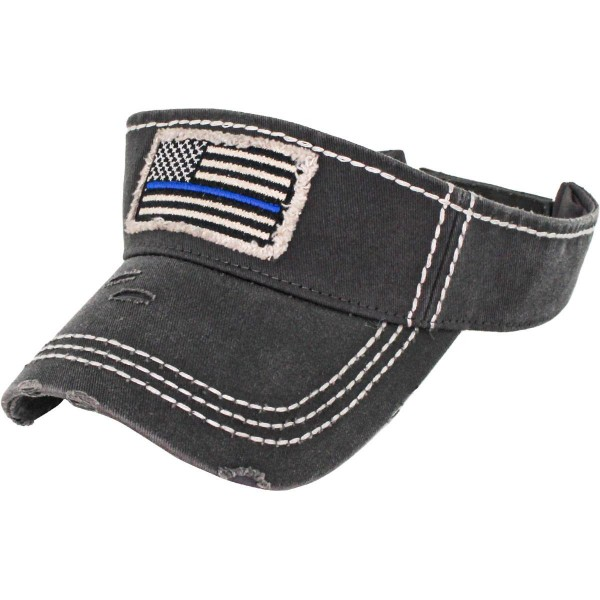 Thin Blue Line Embroidered Distressed Sun Visor.  - One size fits most - Adjustable Velcro Closure - 100% Cotton