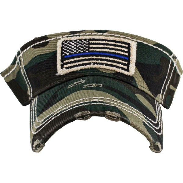 Wholesale thin Blue Line Embroidered Distressed Sun Visor One fits most Adjustab