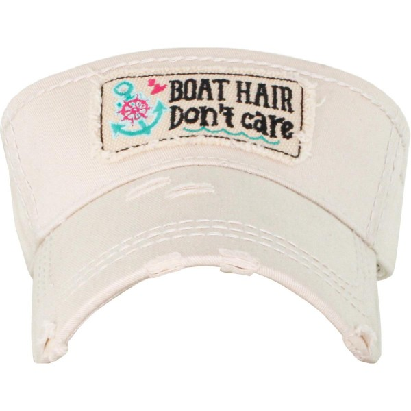 Wholesale boat Hair Don t Care Embroidered Distressed Sun Visor One fits most Ad