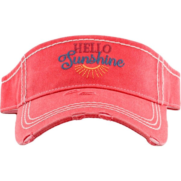 Hello Sunshine Embroidered Distressed Sun Visor.  - One size fits most - Adjustable Velcro Closure - 100% Cotton