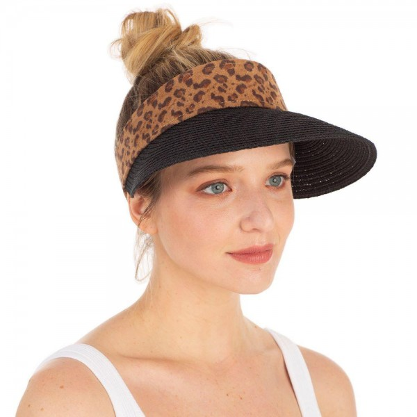 Straw Sun Visor Featuring Animal Print Band.   - One Size Fits Most - 55% Paper, 45% Polyester - Adjustable Velcro Closure