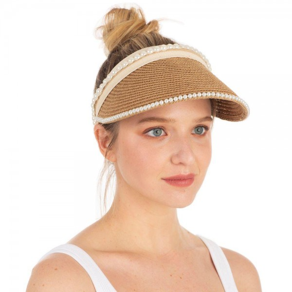 Woven Sun Visor Featuring Faux Pearl Accents.   - Open Ended Closure for Adjustable Fit  - 55% Paper, 45% Polyester  - One Size Fits Most