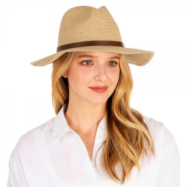Straw Panama Hat Featuring Leather Band Accent.   - 100% Paper - One Size Fits Most  - Adjustable Drawstring Inside Hat for Perfect Fit