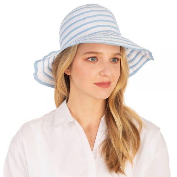 Striped Bucket Hat.   - 100% Cotton  - Adjustable Drawstring Inside For Perfect Fit