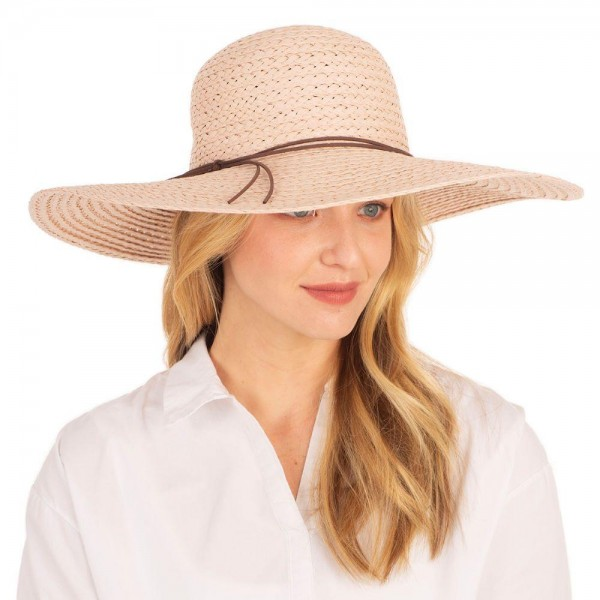 "Wide Brim Straw Beach Hat Featuring Leather Band Accent.   - 100% Paper - Brim Approximately 6"" Wide  - Adjustable Drawstring Inside Hat for Perfect Fit"
