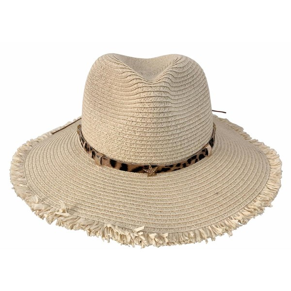 Straw Panama Hat Featuring Animal Print Band.   - 100% Paper - One Size Fits Most - Adjustable Drawstring Inside For Perfect Fit