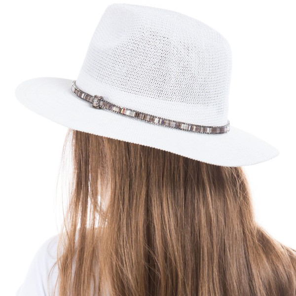 Woven Panama Hat Featuring Multicolor Band.   - One Size Fits Most - 60% Paper, 40% Polyester - Adjustable Drawstring Inside Hat for Perfect Fit