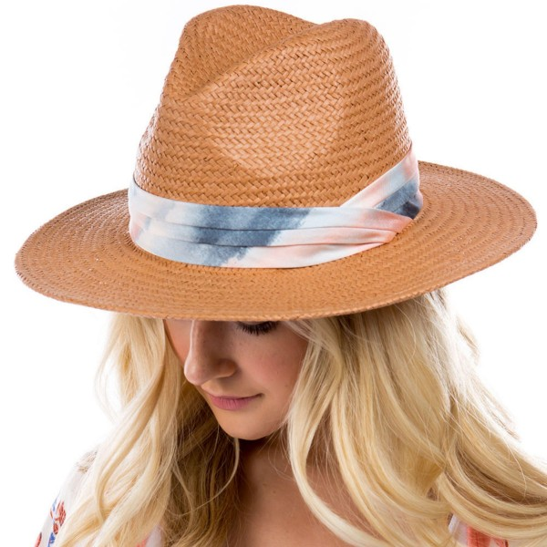 Woven Straw Panama Hat Featuring Tie-Dye Band.   - One Size Fits Most - 85% Paper, 15% Polyester - Adjustable Drawstring Inside Hat for Perfect Fit
