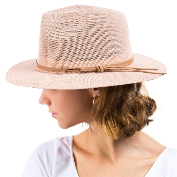 Woven Panama Hat Featuring Leather Band.   - One Size Fits Most - 60% Paper, 40% Polyester - Adjustable Drawstring Inside Hat for Perfect Fit
