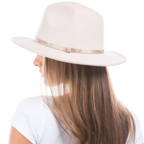 Blended Wool Felt Hat Featuring Snakeskin Leather Band.   - One Size Fits Most - 90% Polyester, 10% Wool  - Adjustable Drawstring Inside Hat for Perfect Fit