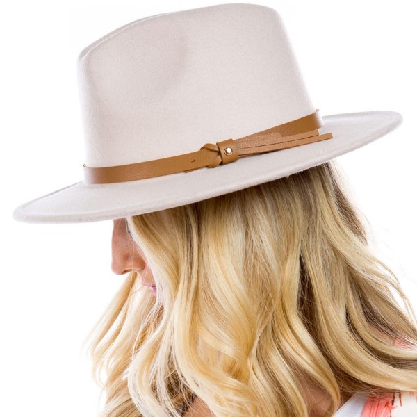 Blended Wool Felt Hat Featuring Leather Band.   - One Size Fits Most - 90% Polyester, 10% Wool  - Adjustable Drawstring Inside Hat for Perfect Fit
