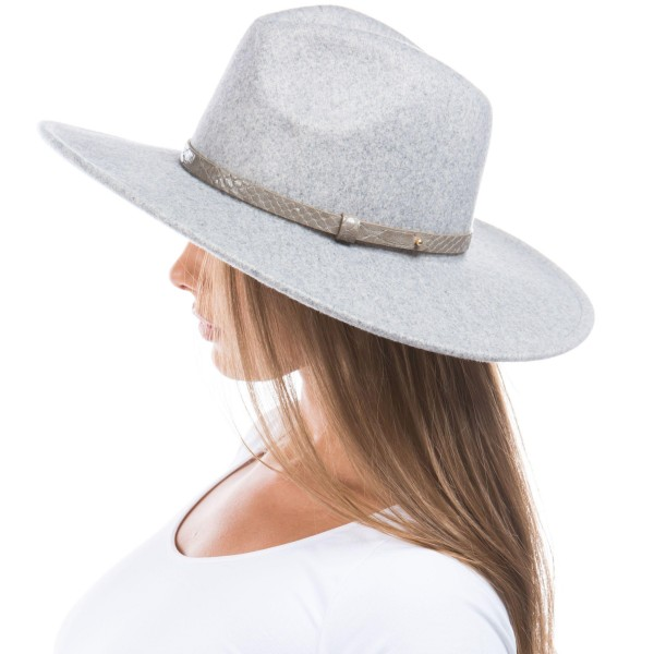 """Blended Felt Wide Brim Panama Hat.   - One Size Fits Most - 65% Polyester, 35% Wool  - Adjustable Drawstring Inside Hat for Perfect Fit - Brim of Hat Approximately 4"""" Wide"""