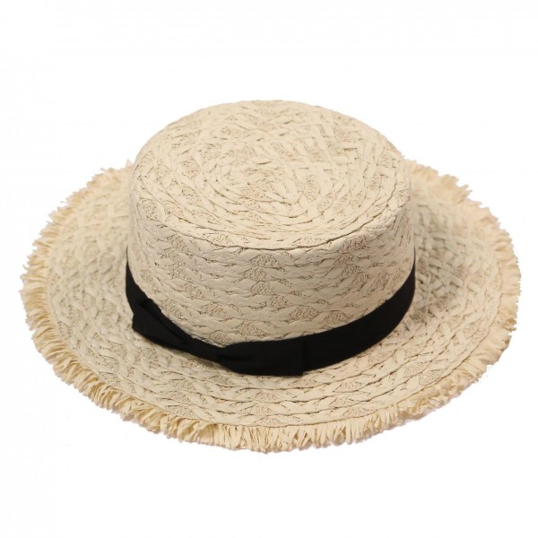 Do Everything in Love Brand Straw Hat with Ribbon Sash Detail.   - One Size Fits Most  - 100% Paper  - Adjustable Draw String Inside for Perfect Fit