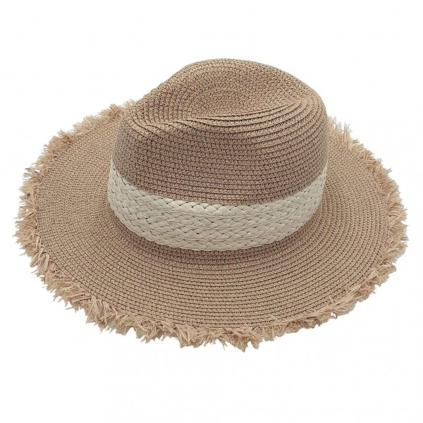 Straw Panama Hat Featuring Braided Band.   - 100% Paper - One Size Fits Most - Adjustable Drawstring Inside For Perfect Fit
