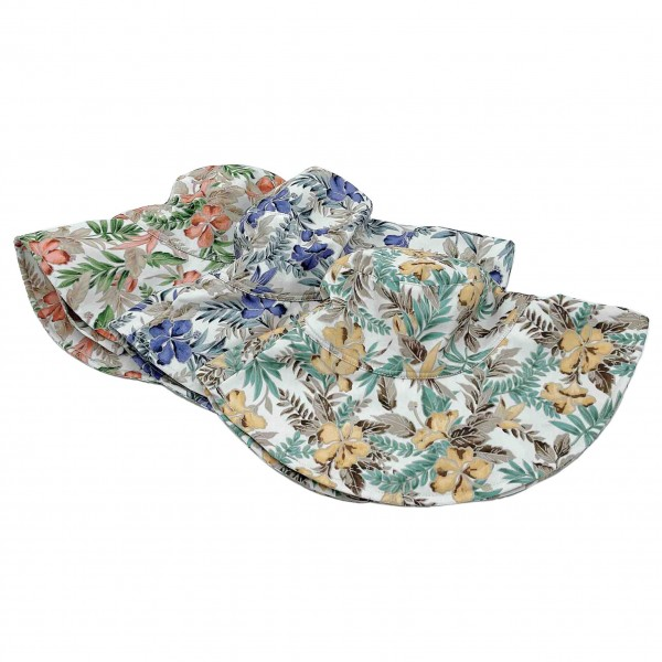 Hibiscus Floral Bucket Hat Featuring Chin Tie.   - 100% Cotton - One Size Fits Most