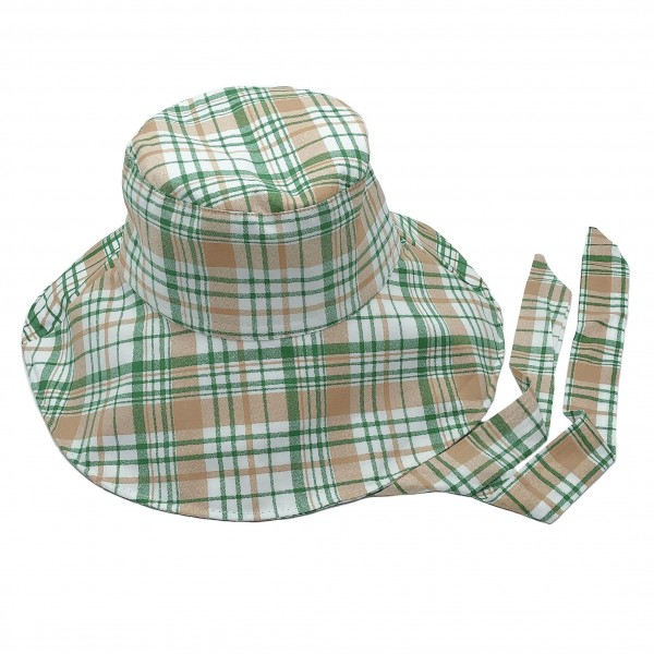 Plaid Bucket Hat Featuring Chin Tie.   - 100% Cotton - One Size Fits Most