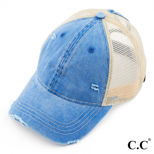 C.C BT-12 Ponytail Cap Featuring Mesh Back.   - One size fits most  - Pony tail opening - Adjustable Velcro Closure - 70% Cotton / 30% Polyester