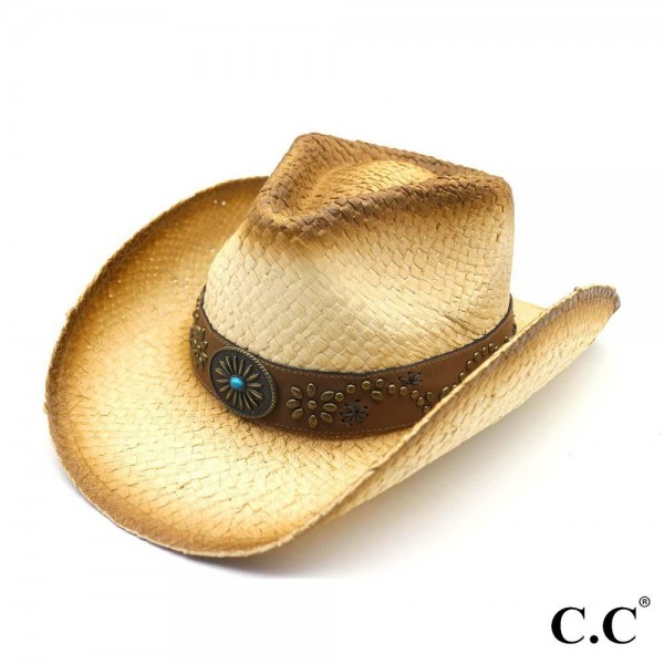 Tea Stained Straw Cowboy Hat with Decorative Studs and Embellishment.   - 100% Paper  - Size May Vary, Fits Most Adults