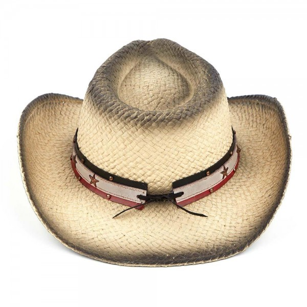 Light Black Stained Straw Cowboy Hat with Multi Color Leather Trim and Studs.   - 100% Paper  - Size May Vary, Fits Most Adults