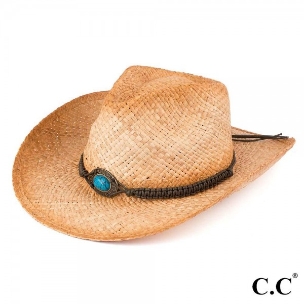 Tea Stained Raffia Cowboy Hat with Turquoise Stone Trim.   - 100% Raffia  - Size May Vary, But Fits Most Adults
