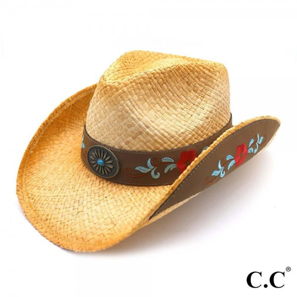 Tea Stained Raffia Cowboy Hat with Leather Trim and Embroidery.   - 100% Raffia  - Size May Vary, Fits Most Adults