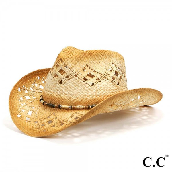 Tea Stained Raffia Cut-Out Design Cowboy Hat with Wood Bead Accents.   - 100% Raffia  - Size May Vary, Fits Most Adults