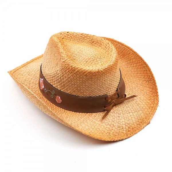 Tea Stained Raffia Cowboy Hat with Rose Embellishment on the Band Trim.   - 100% Raffia  - Size May Vary, Fits Most Adults