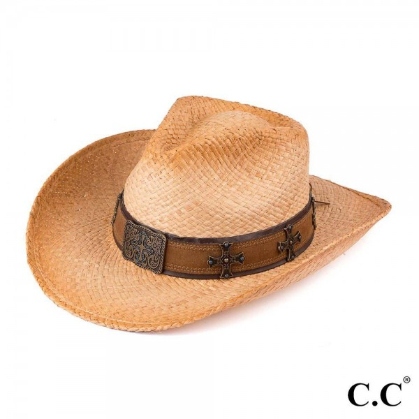 Tea Stained Raffia Cowboy Hat with Cross Embellishment on Band.   - 100% Raffia - Size May Vary, Fits Most Adults