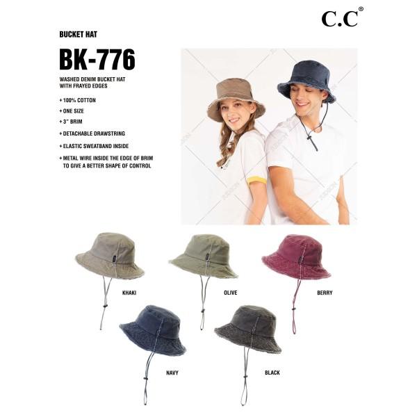 """Washed Frayed Denim Bucket Hat with Frayed Edges.   - 100% Cotton - 3"""" Brim - Detachable Drawstring - Elastic Sweatband Inside"""