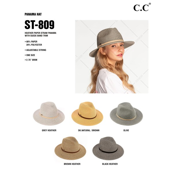 C.C. ST-809 Straw Panama Hat Featuring Tan Suede Band.   - One Size Fits Most Adults  - 80% Paper, 20% Polyester - Adjustable Drawstring Inside Hat for Perfect Fit