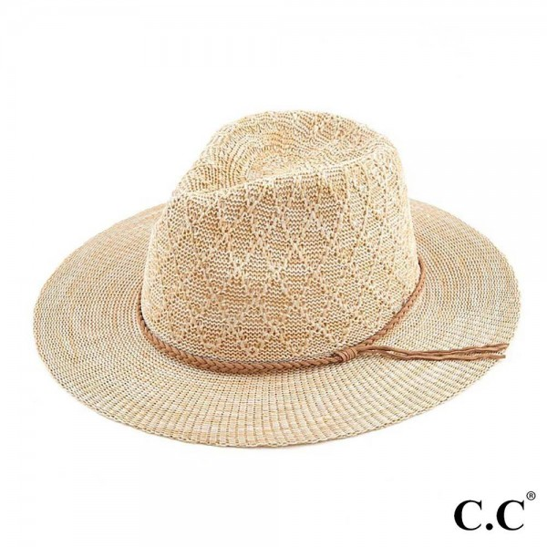 C.C KP-010  Knitted Panama Hat Featuring Braided Suede Trim Band.   - One Size Fits Most  - 100% Polyester  - Adjustable Drawstring Inside Hat For Perfect Fit