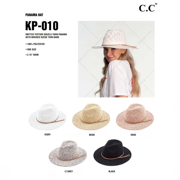 C.C KP-010 Knitted Boucle Yarn Panama Hat Featuring Braided Suede Trim Band.   - One Size Fits Most - 100% Polyester - Adjustable Drawstring Inside Hat For Perfect Fit